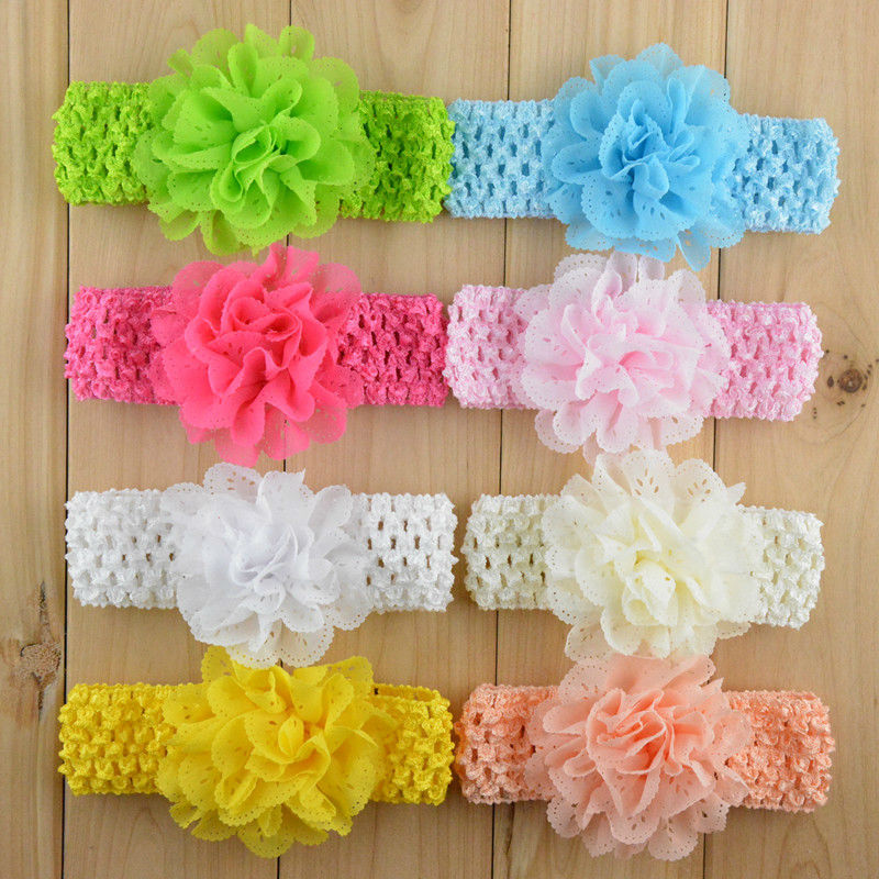 Promotion 10pcs/lot Chiffon Lace Flower Crochet Headband Baby Girls Dress Up Head band 11 color (China (Mainland))