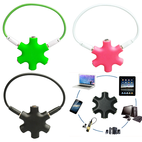 image for 3.5mm Jack 5 Way Port Aux Multi Headphone Splitter Cable Lead Adaptor