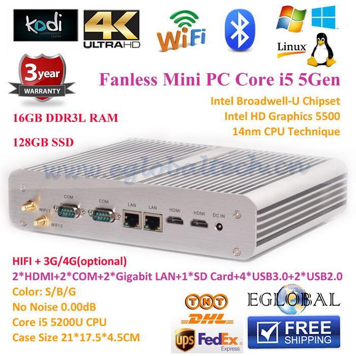 2015 Best Mini PC 0.00dB HTPC 4K Ultra HD 16GB Ram 128GB SSD Broadwell Intel Core i5 5200U 2*Nics+2*COM+2*HDMI desktop computer.(China (Mainland))