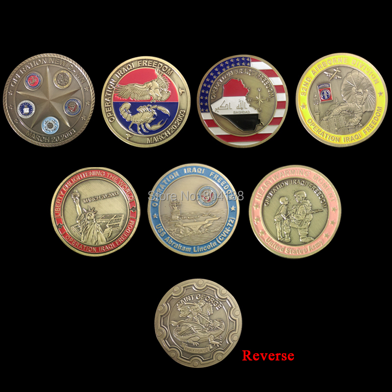 Mix order 7 pieces New coins American OPERATION IRAQI FREEDOM United State Army Coin, coins(China (Mainland))