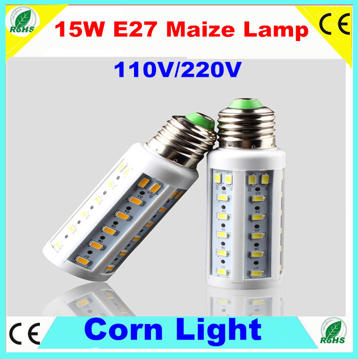 30pcs Newest E27 15W 50 LED 5730 SMD corn light 1000Lm Warm White/ Cool White CE led Bulb Lamp 220V/110V , no containing lead(China (Mainland))