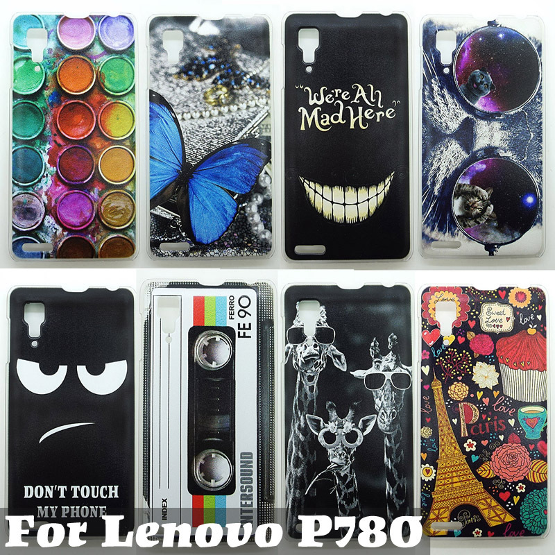 Case For Lenovo P780 Colorful Printing Drawing Phone Protect Cover For P780 Fashion Plastic Phone Shell 2015 Hot Selling 0898(China (Mainland))