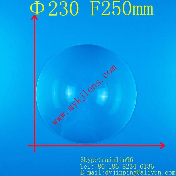 Fresnel lens Diameter 230mm focal length 250mm PMMA material lamp light ,flash light,stage lights ,industrial light fresnel lens