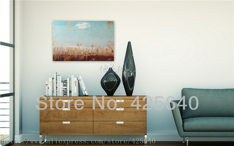 Grass under the Sky Acrylic Paint Home Decoration Oil Painting on canvas hight Quality Hand-painted Wall Art 24X36 inch(China (Mainland))