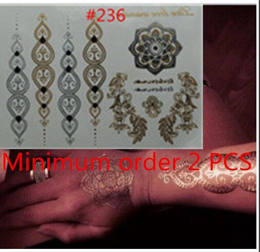 500 style body art painting tattoo stickers glitter Metal gold silver temporary flash tattoo Disposable indians tattoos tatoo(China (Mainland))