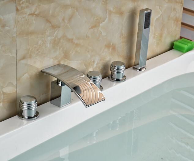 Фотография W/Hand Shower Chorme Tub Faucet 5PCS Bathroom Faucet Mixer Tap Three Handles Tap