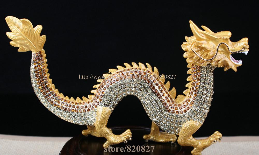 8.8 Inch Metal Dragon Figurine Trinket Fengshui Dragon Statue Souvenir Collectible Casket Decor Business Gift Silver Dragon