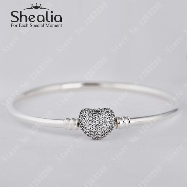 Оригинал 925 в форме сердца застежка браслеты с логотипом проложить в форме сердца клип браслет подходит подвески и бусины DIY Shealia ювелирных изделий