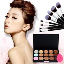 Makeup Set 15 Colors Professional Contour Face Concealer Palette + 8PC Powder Brush + Sponge Foundation Cosmetic Tools Free Ship(China (Mainland))