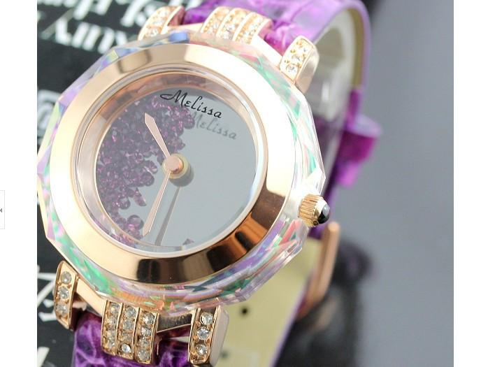 Мелисса леди наручные часы кварцевых часов лучший мода женщина платье браслет кожа кристалл роскошные стразы девушка Valentaine подарок