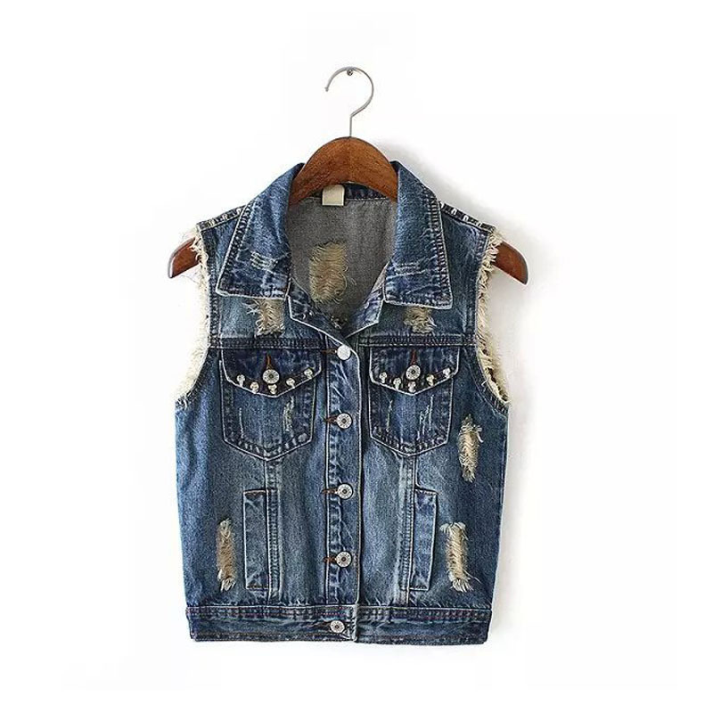 European Women 39 S Personality Fashion Classic Vintage Punk Style Rivets Sleeveless Ripped Holes