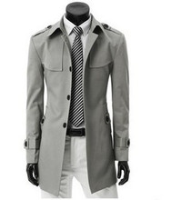 2016 Men's coat top Fasion New Arrival Cotton Satin Hot-selling Male Thin Trench Chromophous Slim Outerwear Fashion Grey Color(China (Mainland))