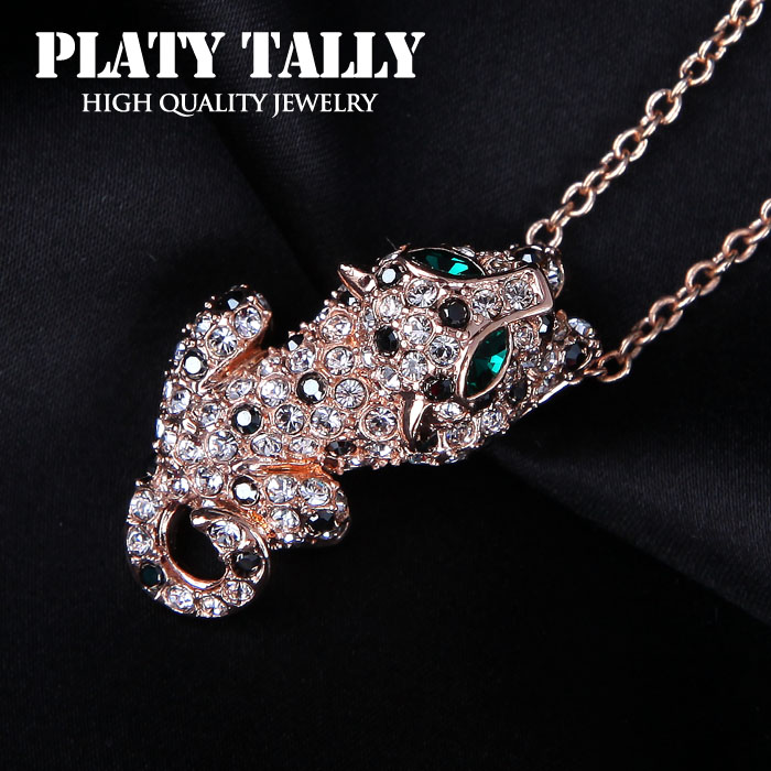 PTN093 Sexy Leopard Necklace 18K Rose Gold Plated Fashion Jewellery Nickel Free Pendant Crystal(China (Mainland))