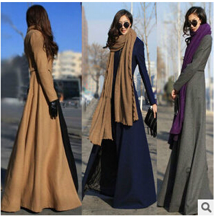 Skirt coat 2014 winter women brand long wool coats Slim sexy maxi winter coats casual dress female warm outwear coat(China (Mainland))