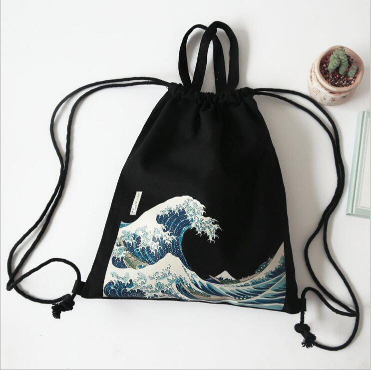 Original manual Backpack Women School Bags Surfing Pattern Drawstring Canvas Women Bags Mochila(China (Mainland))