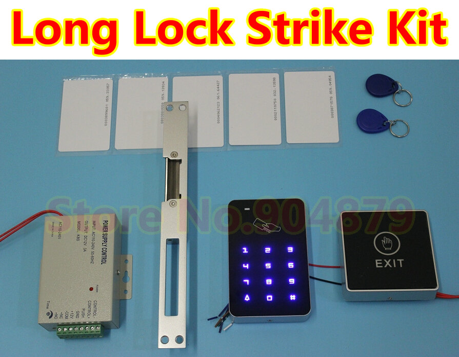 New Backup light touch Access Control System Full RFID Kit+Door Long Strike Lock RFID+ Controller+ ID Card Keytab + Power supply(China (Mainland))