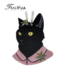 Black Cat  Pendant Wood  Ethnic Style  Hip Hop  Style Choker Necklace Women Jewellery From India 2015 New Coming(China (Mainland))