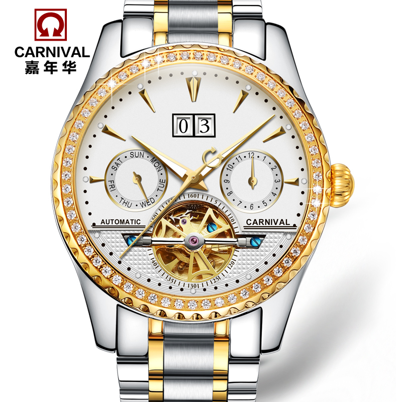 Carnival fully-automatic mechanical watch fashion cutout watch male waterproof luminous mens watch gold 8731