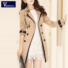 VANGULL Trench Coat For Women 2016 Fashion Turn-down Collar Double Breasted Contrast Color Long Coats Plus Size Casaco Feminino(China (Mainland))