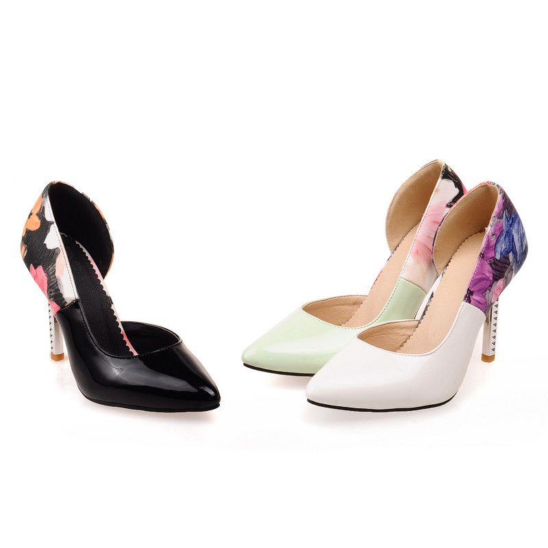 Black Green White Women's Patent Leather Shoes High Heel Stilettos Pointed Toe Ladies' Casual Pumps US Size 2-10.5/EU 32-43 S404(China (Mainland))