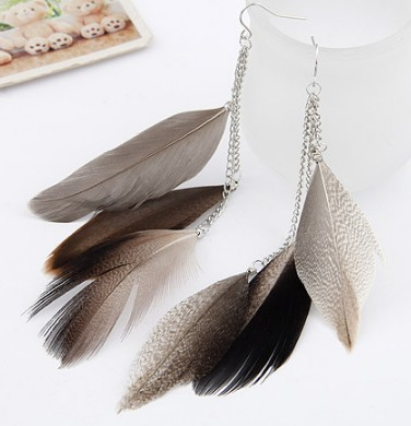 wholesale cheap Fashion earrings high quality brown feather earrings free shipping for $15 mini 3 pairs/lot(China (Mainland))