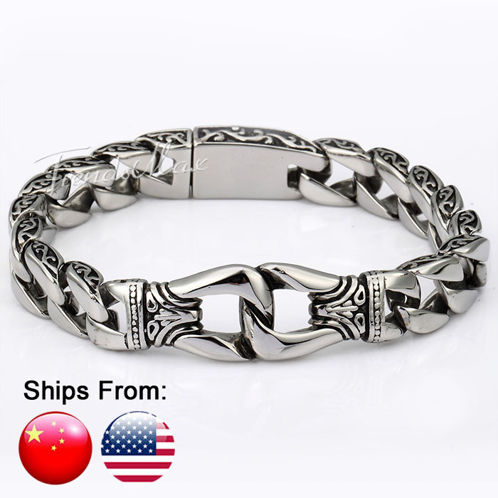 Ship From USA 15mm Silver Tone Curb Cuban 316L Stainless Steel Bracelet Curved Edging Mens Boys Bracelet Wholesale Jewelry HB10(Hong Kong)