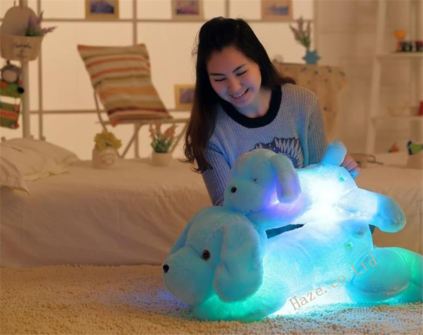Creative toy Cute Inductive dog nightlight plush toy LED glow pillow doll 50cm(China (Mainland))