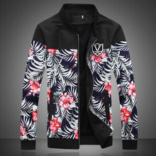 2015 Brand Men Jacket Flower Print Jackets Men's Jackets And Coats Outdoor Windbreaker Jacket Men Chaqueta Hombre M-5XL(China (Mainland))
