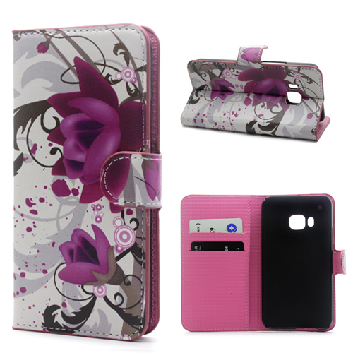2015 NEW Elegant Lotus Flower PU Leather Credit Card Wallet Flip Cover Case For HTC One M9 Mobile Phone Bag Cases Free Shipping(China (Mainland))
