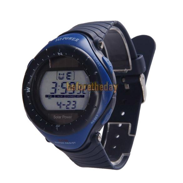 BETR Hi Power Round Dial Digital Waterproof Sports Solar Power Watch 0405 Blue