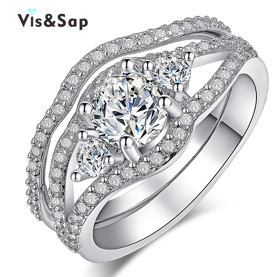 2016 Bridal sets White Gold plated fashion Jewelry cz diamond ring engagement Wedding Gift Rings For Women Top quality VSR168(China (Mainland))