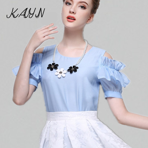 Summer Style Women 2015 New Organza Tops Shirt Fashion Elegant Ladies Shoulder Blouses Necklace - KAYN Boutique Clothing store