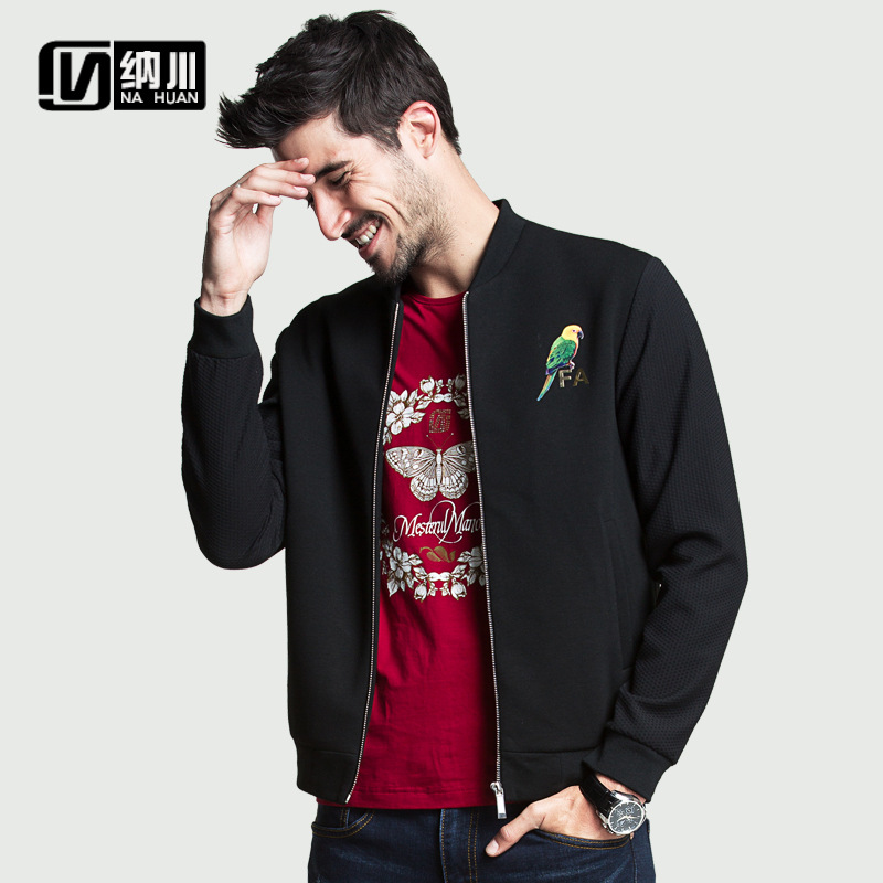 Fall Jacket Men Stylish Parrot Printed Designer Jacket Patterns Slim Zipper Casual Baseball Jackets Man Black xxlОдежда и ак�е��уары<br><br><br>Aliexpress
