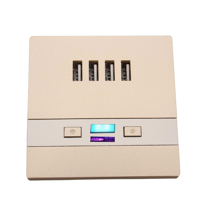 Newest Universal 4 USB Port 3000mA  Wall Face Plate Outlet Panel Power Supply Socket Plug Switch Charger  AC110V 220V Champagne <br><br>Aliexpress