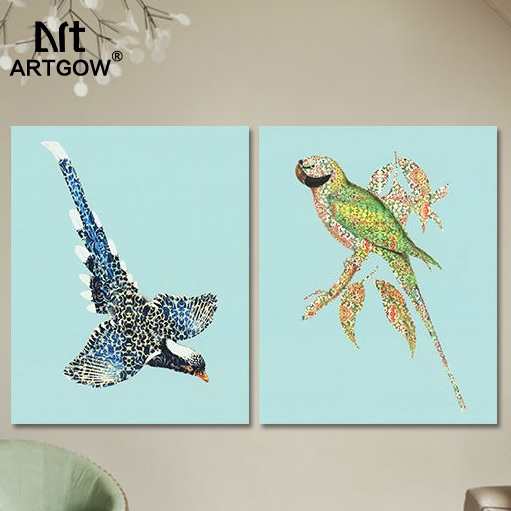 2 pcs oil Art printed animal children living room kids Decoration bird Canvas printed Painting wall Hanging home decor unframed(China (Mainland))
