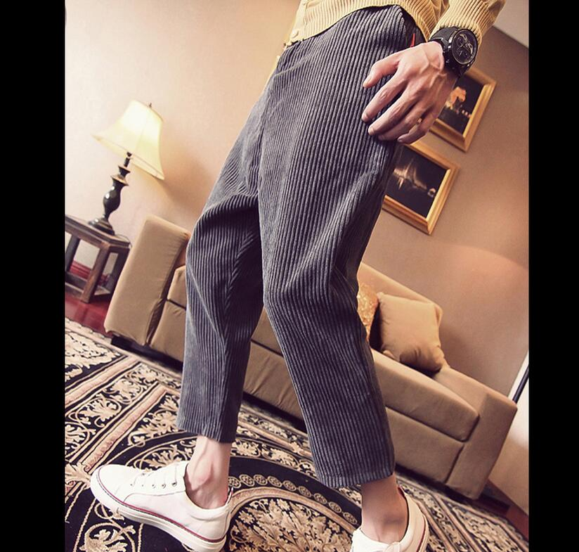 lager size men clothing Free shopping corduroy men's casual harem pantyhose feet pants / M-XXL(China (Mainland))