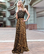 2015 Summer Spring New Fashion Runway European Ladies Sexy Retro Leopard Printed Spliced Lace Spaghetti Strap Chiffon Dress(China (Mainland))