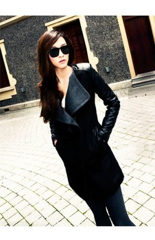 High Quality Autumn Winter New In Black Navy Blue Red Contrast PU Leather Sleeve Zipper Woolen Coat For Woman Size S- XL PY3102