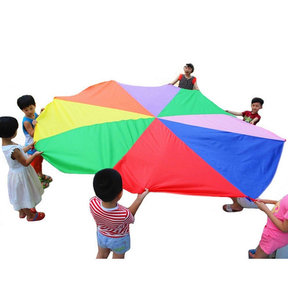 Handles Children Kids Teamwork Cooperative Play Rainbow Parachute 2 m Waterproof Outdoor Game Exercise Sport Tool Toy(China (Mainland))