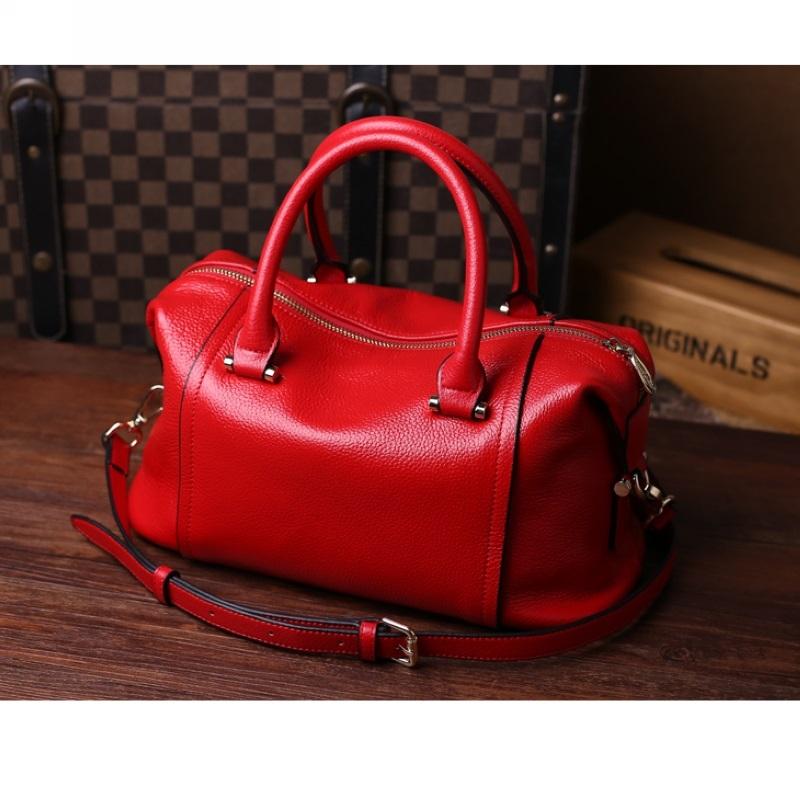 Head layer Cowhide Shoulder Bags Red Woman Handbag Designer Genuine Leather Boston Bag Vintage Pink Black New