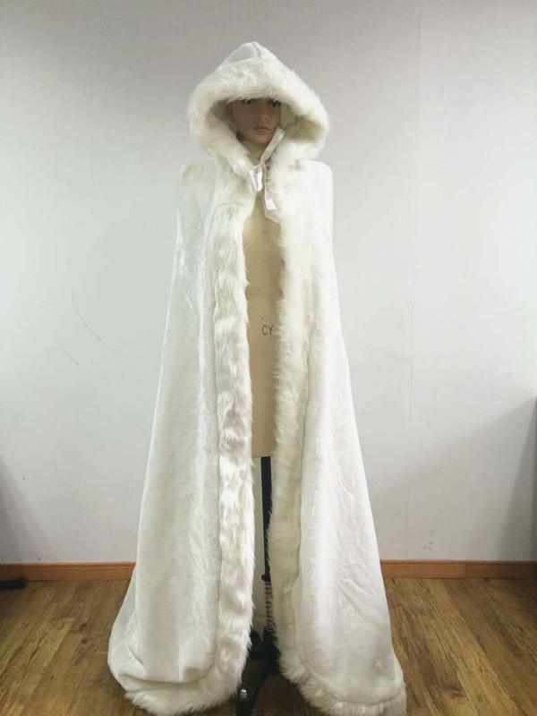 Gruesa capucha nupcial blanca la boda del mantón escudo Plus tamaño largo del vestido chaquetas nupciales nupcial Wraps Faux Fur estolas Wedding(China (Mainland))