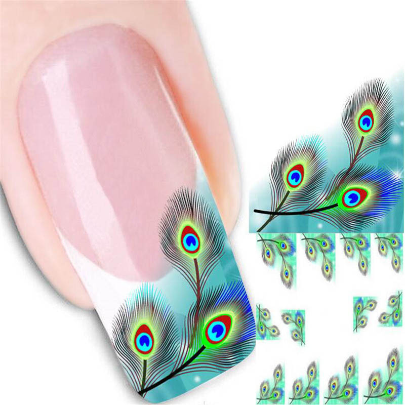 24Sheet Beauty Peacock Feather Design Water Transfer Nail Art Sticker Decal Kit Foil Adhesive Fingernail Decoration Nail Tattoo(China (Mainland))