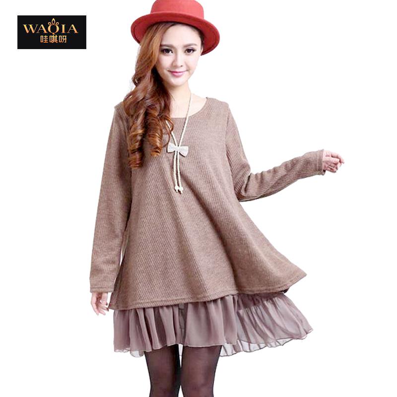 2015 new spring autumn Europe and America hot chiffon joint bow back slit elasticity plus size dress women hot vestidos(China (Mainland))
