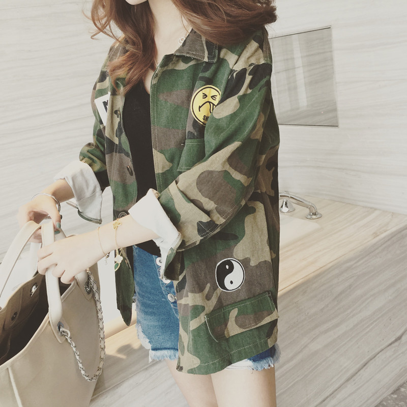 2016 fashion camouflage military jacket women denim camo jackets jaqueta feminina army green. Black Bedroom Furniture Sets. Home Design Ideas