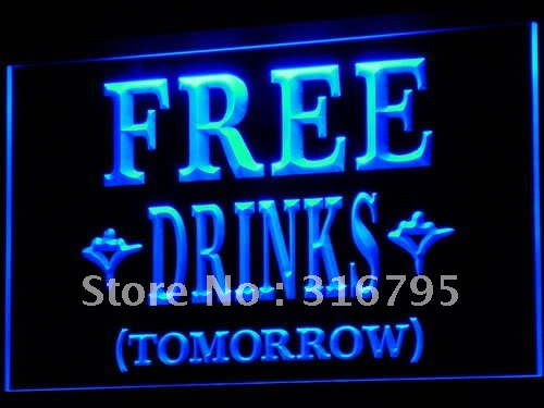 i649-b FREE DRINKS TOMORROW Beer Bar LED Neon Light Sign(China (Mainland))