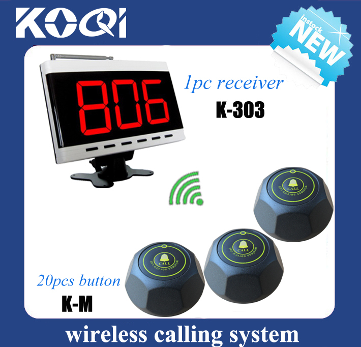 Wireless paging system long range calling transmitter 1pc K-303 display receiver and 20pcs K-M-Black button(China (Mainland))