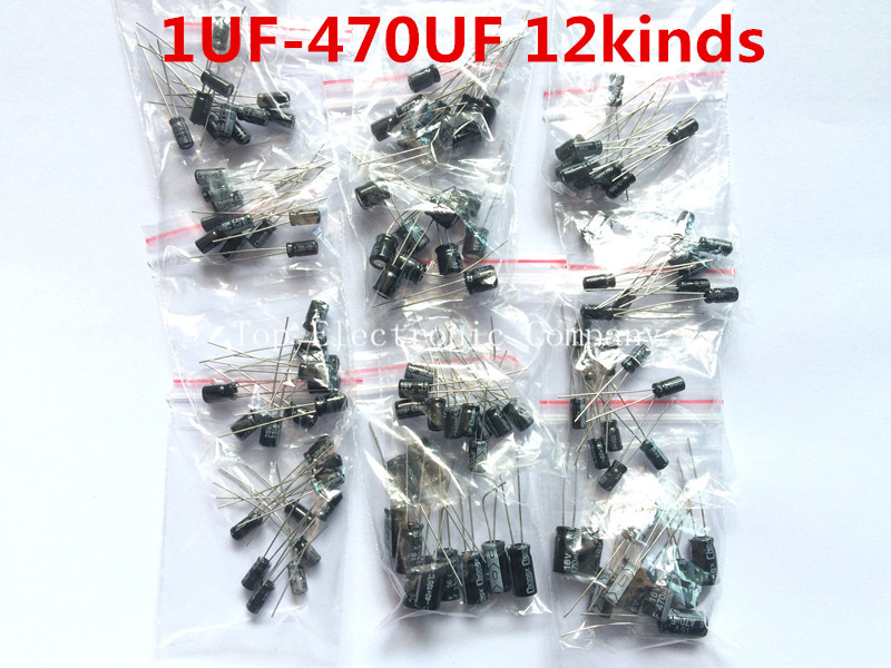 120pcs 12 value kit 1uF-470uF Electrolytic Capacitor Package for arduino 1UF 2.2UF 3.3UF 4.7UF 10UF 22UF 33UF 47UF 100UF 220UF(China (Mainland))