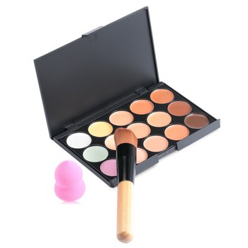15 Colors Matte Contour Face Cream Makeup Concealer Palette with Powder Puff and Brush Sets Professional Facial Cosmetic 1565723