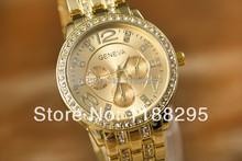 2015 Geneva Watch Full Steel watches women luxury brand Women Rhinestone watches Ladies Casual Analog Quartz
