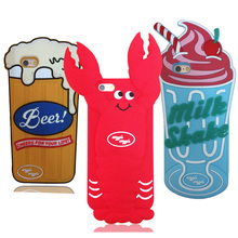 3D Cartoon Lobster Beer Soft Silicone Mobile Phone Case Back Cover Skin Shell For Apple iPhone 5/5S/5C/SE/6/6S/6 Plus/6S Plus